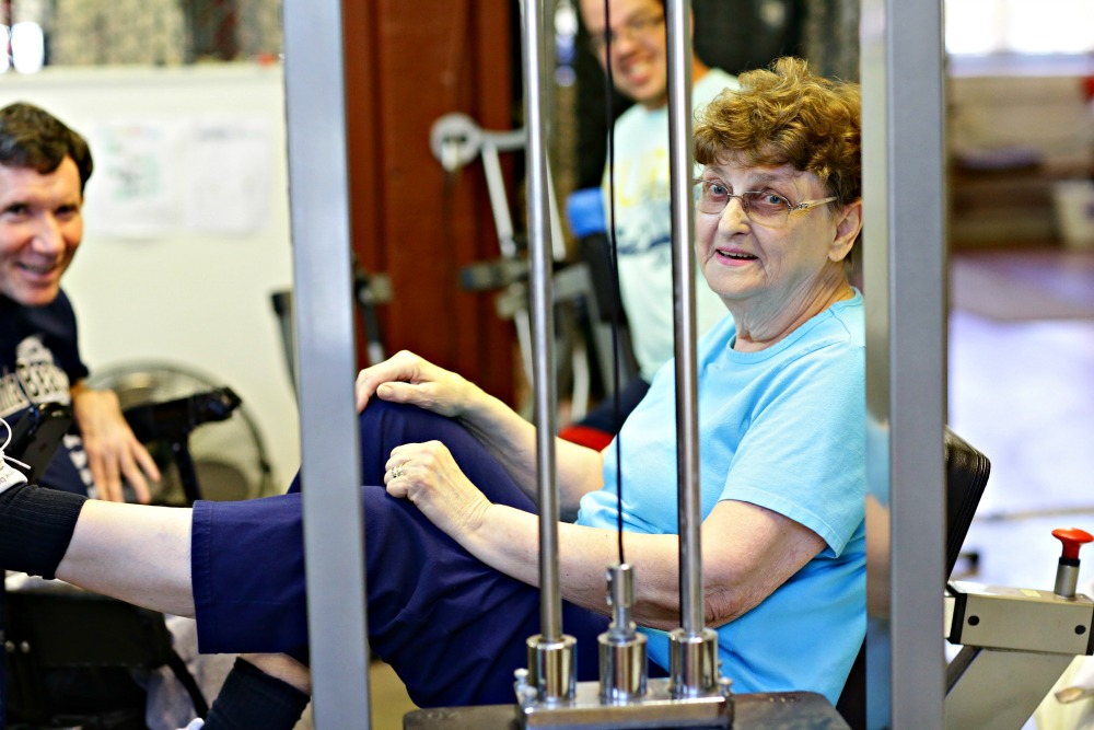 <b>Maureen</b><br> <div>Meet Maureen D. Maureen has been with us for 7 years. She just turned 84! She came to us after being discharged from physical therapy. She still needed to work on her balance and gait, general strength and endurance. Since coming she has had back surgery for a spinal stenosis where we continued her recovery, again  after being discharged from PT, working on her endurance, balance and strength. She also enjoys the comradery of many, many friends that look forward to her coming three days a week. Maureen only can afford $4 a visit.</div>